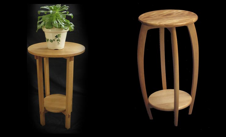 Oak  plant stand  |  Flame birch stool